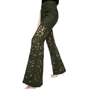 New Zara Green Sheer Cut Out Lace Flare Pants - S